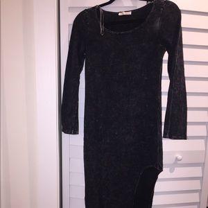 Acid wash long sleeve asymmetric dress